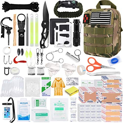 KOSIN Survival Gear and Equipment 500 Pcs Survival First Aid kit Fishing Gifts for Men Dad Boy product image