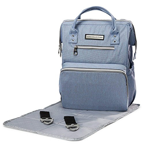 SoHo WideOpen Diaper Backpack Bag (Ocean Blue 3pc)