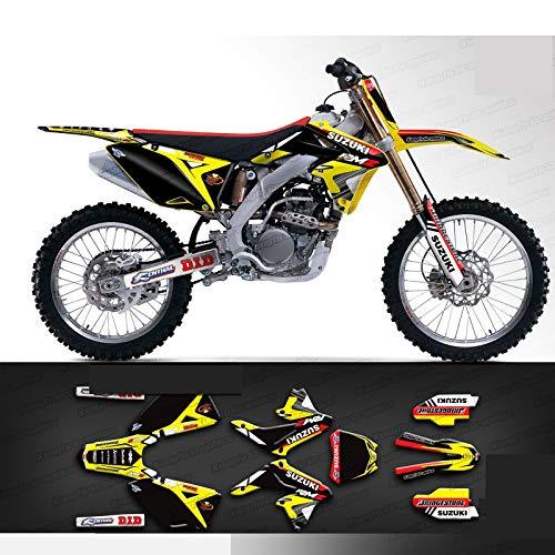 Kungfu Graphics Custom Decal Kit for Suzuki RMZ 250 2010 2011 2012 2013 2014 2015 2016 2017 2018, Black Yellow