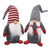 Ivenf Christmas Decorations Gift Birthday Present, 2 Pack Handmade Plush Tomte Gnome Swedish Scandinavian Santa, Holiday Home Table Decor Ornaments