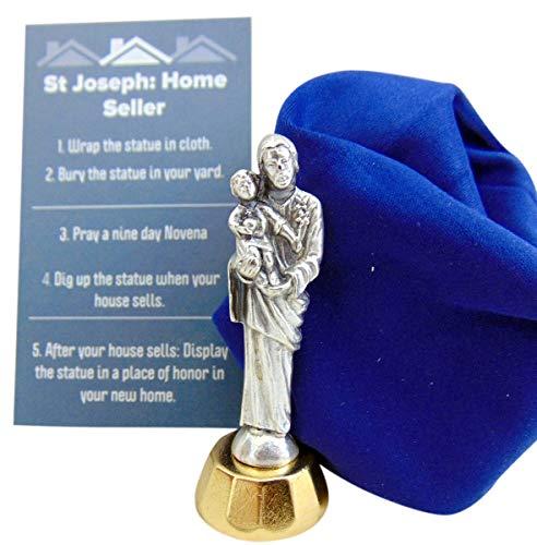 Westmon Works Kit de Estátua de São José para Vendas de Casa com Cartão de Instrução e Conjunto de Pano de Sepultura