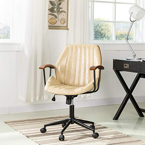 Glitzhome Adjustable Mid-Back Home Office Chair, Thick PU Leather Padding for Comfort Ergonomic Design and Lumbar Support, Executive Swivel Desk/Task Chair with Arm,Cream