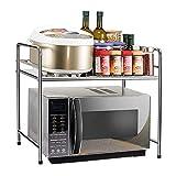 A-ZHP Standregale Küchen-Speicher-Regal, Haushalts-Multifunktionsmikrowellenherd-Gestell-Edelstahl-Regal-Speicher-Gestell-Küche liefert -2 Schicht Küchenwagen