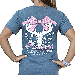 Southern Attitude Dogwood Sassy Heather Gray Bow Deer Skull Short Sleeve Shirt