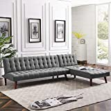 Anshunyin Living Room Sofa Set Sofa Bed Fabric Modern Reversible Sectional Recliner Couch Sectional Sofa Sleeper Couch with Wood Legs, Gray