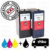 Pack Ahorro Cartuchos de Tinta Negro & y Color Compatible con LEXMARK 28 & 29