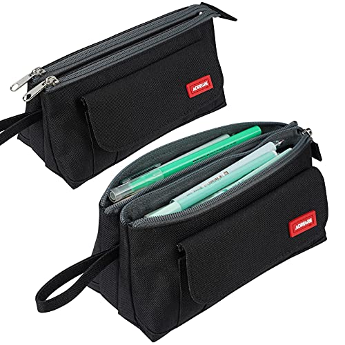 Pencil Case with Two Large Compartments Pocket Big Capacity Pencil Pouch Holder Pen Case Makeup Bag School Supplies Office Stationery Storage Gift for High School Students Girl Boy Adult Teen (Black)