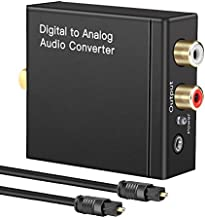 Digital to Audio Converter Digital Optical Toslink Coaxial Inputs to RCA Audio Adapter and AUX 3.5mm Headphone Outputs Optical Toslink Cable Included