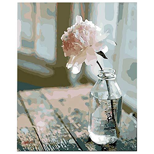 DonElton Pintar por numeros Flores - Cuadro de Pinturas con numeros con Pinceles y Colores Brillantes - Lienzo con numeros Dibujado fácil de Pintar para Adultos y niños