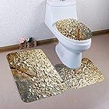 WDSFT Alfombra de baño 3PCS Imprimir Árbol de baño Antideslizante Alfombra Pedestal Tapa del Inodoro Cubierta Alfombra de baño Set Tapis Salle de Bain 3D (Nuevo patrón) (Color : C)