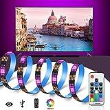 Retroiluminación del LED TV, USB Bais Lighting RGB Tira de LED con Cinta Adhesiva Térmica y Control Remoto Inalámbrico de 17...