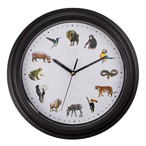 Monsterzeug Kinderuhr mit Tierstimmen, Wanduhr für Kinder, Uhr mit Soundeffekt, Tierstimmenuhr, Uhr für Mädchen und Jungen, Deko fürs Kinderzimmer