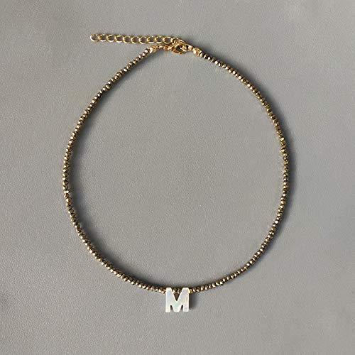 Collar de Letras de Concha de Cuentas de Cristal Hecho a Mano, Variedad de Colores, joyería Personalizada, Regalos para Mujeres