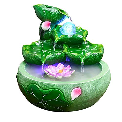 WAWLIVING Indoor Rockery Tabletop Fountain Desktop Mountain Cascading Waterfalls Lotus Style with Mister and Rolling Ball for Decoration Gift