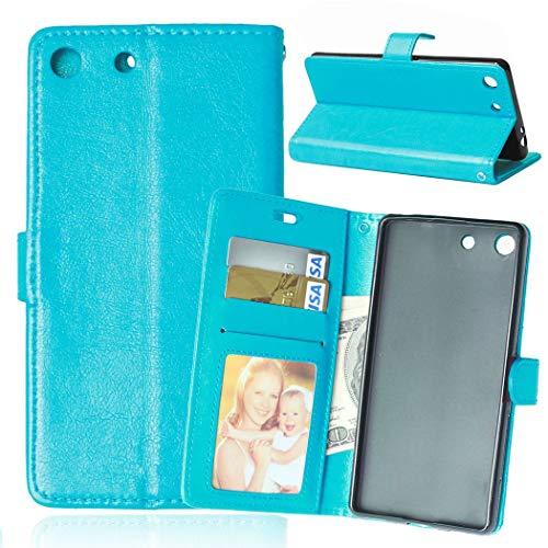 Wenlon Caja del teléfono de la PU para Sony Xperia M5 E5603 E5606 E5653, Caja del teléfono de la Cartera del Negocio del Cuero Artificial, función de Soporte -Azul