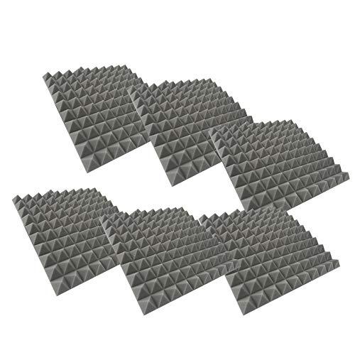 Paquete de 6 Insonorizacion Pirámide Espuma Absorcion Aislamiento Acustica Paneles Tratamiento 30x30x3cm Retardante de Llama