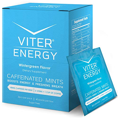 Viter Energy Caffeinated Mints - 40mg Caffeine, B Vitamins, Sugar Free Vegan Breath Mint. Powerful Energizing Boost. 2 Energy Mints Replace 1 Coffee, Gum, Chews, Gummies (Wintergreen, 40 Pack Box)