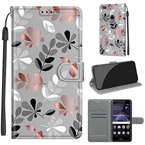 SATURCASE Huawei P8 Lite 2017 Hülle, Schön PU Lederhülle Magnetverschluss Brieftasche Kartenfächer Standfunktion Handschlaufe Handy Tasche Schutzhülle Handyhülle Hülle für Huawei P8 Lite 2017 (DY-17)