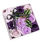 Meilily Bunt Rose Seife Blume, Kunstblumen Rosen-Duftseifen in Geschenk-Box, Rosenduft Badeseife...