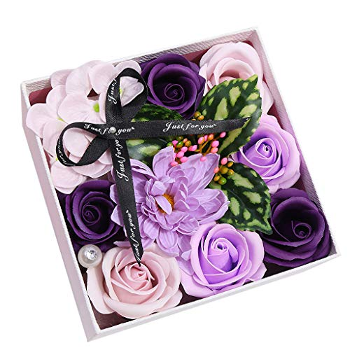 Meilily Bunt Rose Seife Blume, Kunstblumen Rosen-Duftseifen in Geschenk-Box, Rosenduft Badeseife Rose in Geschenkbox Hochzeit/Geburtstags/Valentinstag/Thanksgiving/Weihnachten