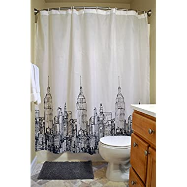 DII Oceanique 5-Piece Bathroom Starter Set, Includes 72x72  Shower Curtain, 12 Shower Hooks, 1 Soap Dish, 1 Cup, 1 Lotion Dispenser, City Scape