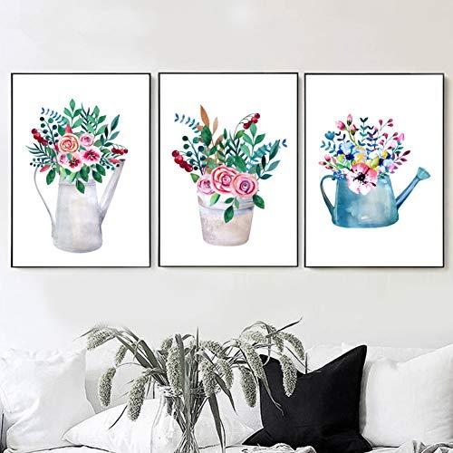 RHBNVR HD-print canvas schilderij 3 stuks canvas schilderij aquarel bloempotten poster Hd Print muur woonkamer huis decoratie