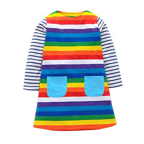 Kobay Babykleidung Mädchen Weihnachten Langarm-Cartoon-Regenbogen-gestreifter Beiläufig Kleid (4-5T, Mehrfarbig-3)