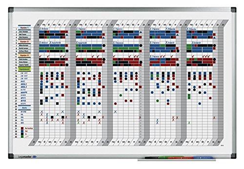 Legamaster 7-413500 Premium weekplanner, uv-gehard whiteboard, 5 weekoverzicht met 40 regels, 90 x 60 cm