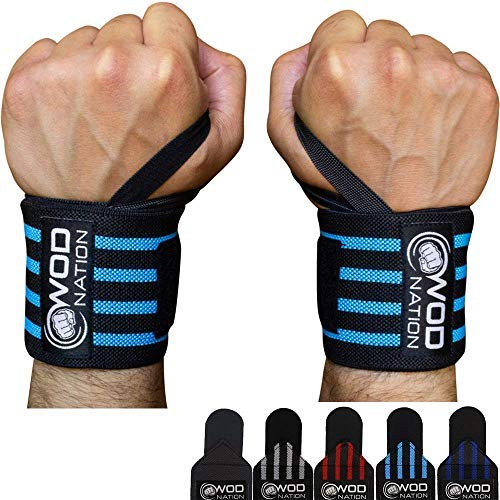 """WOD Nation Wrist Wraps Weightlifting for Men & Women - Weight Lifting Wrist Wrap Set of 2 (12"""" or 18"""") (12 Inch - Black/Lt Blue)"""