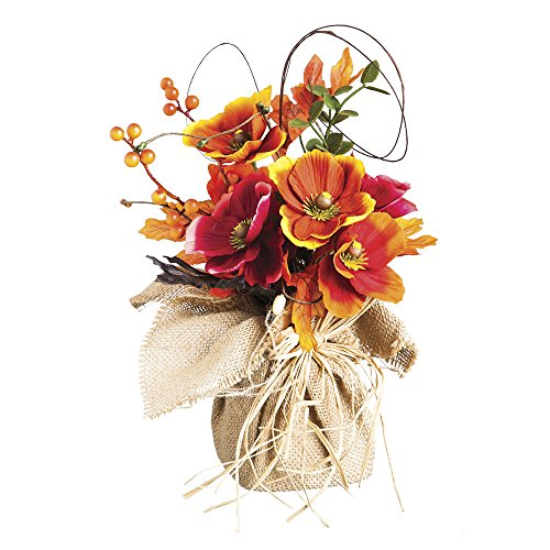 Burlap Sack with Fall Flowers Round Table Decor Piece