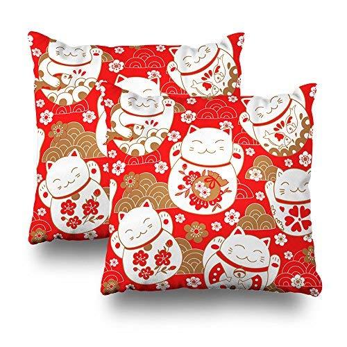 Set di 2 federe decorative per cuscini per divano/letto, 45,7 x 45,7 cm, con simpatici gatti, portafortuna, motivo Maneki Neko orientale, 45,7 x 45,7 cm, per soggiorno, divano, decorazione per la festa della mamma, idea regalo