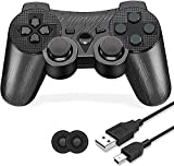 9. PS-3 Controller Wireless, PS-3 Controller Gamepad Compatible with Play-Station 3, Double Vibration Controller with Charging Cable (Black Circuit Pattern)