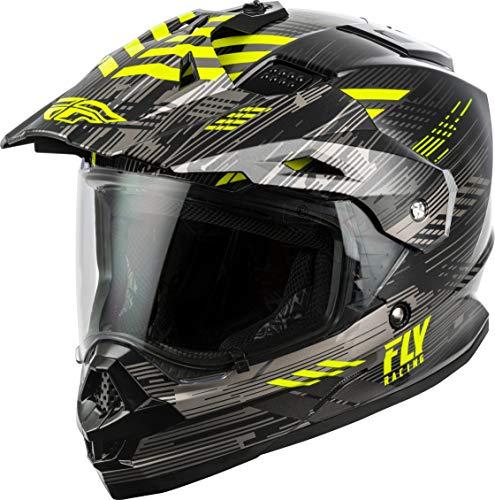 FLY Racing Trekker Solid Helmet, Full-Face Motorcycle Helmet for Men and Women (Black/Grey/HI-VIS, Small)