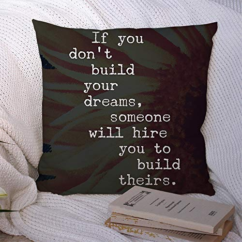 Throw Pillow Covers Inspirational Quote Life Best Motivational Day Typographic Quotes Awesome Sayings Education Nice Polyester Decorative Square Cushion Cases for Couch Bed Home Decor 16x16 Inch