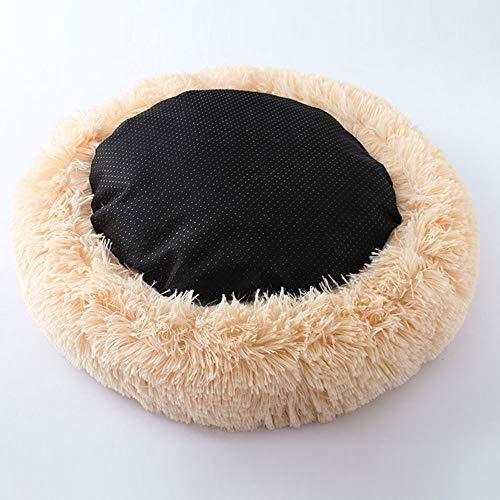 Muswannaペットベッドペットクッションペットマットペットソファラウンド型丸型ドーナツペットベッドぐっすり眠るふわふわもこもこ暖かい滑り止め防寒寒さ対策洗える猫用小型犬用ペット用品サイズ選択可カラー選択可(50x20cm,アプリコット)