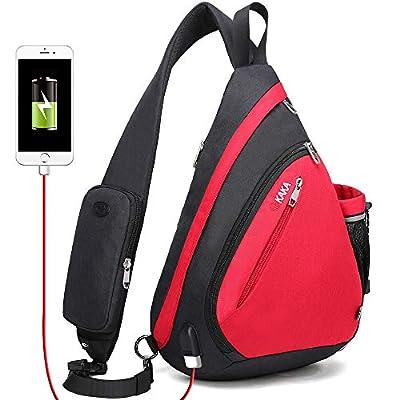KAKA Sling Bag,Crossbody Backpack Shoulder Bag Travel With USB Charging Port
