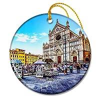 イタリアフィレンツェ市場屋外教会クリスマスオーナメントセラミックシート旅行お土産ギフト