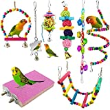 <span class='highlight'><span class='highlight'>ESRISE</span></span> 8 Pcs Bird Parrot Toys, Hanging Bell Pet Bird Cage Hammock Swing Toy Wooden Perch Mirror Chewing Toy for Conures, Love Birds, Small Parakeets Cockatiels, Finche (Muliti-T8)