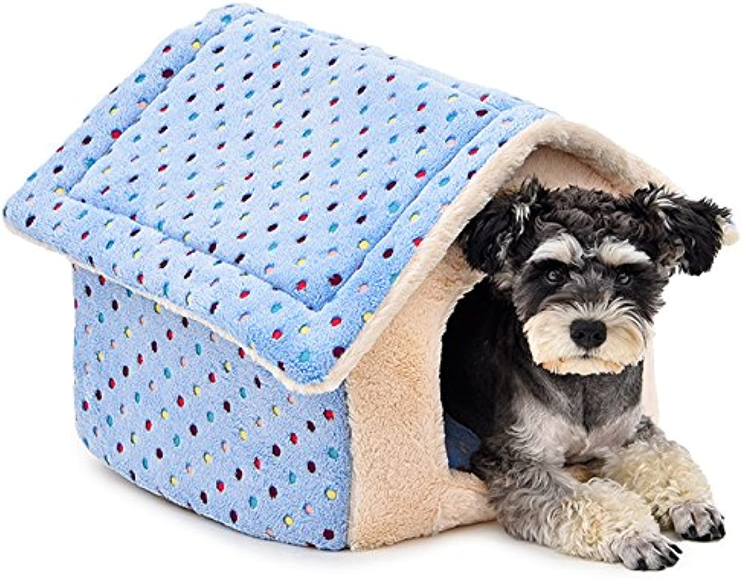CHONGWUCX Soft cotton comfortable fabric kennel removable and washable seasons cat sleeping bag pad nonslip moistureproof pet nest autumn and winter warm thicker dog bed  47  39cm   bluee