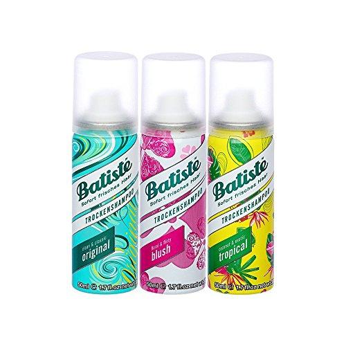 Batiste Shampoo Secco Mini Mix, capelli per tutti i tipi di capelli, (Confezione da 2+1), 3 x 50ml