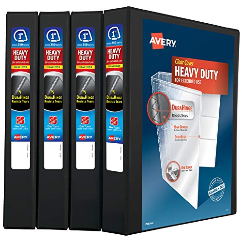 Avery Heavy Duty View 3 Ring Binder, 1' One Touch Slant Ring, Holds 8.5' x 11' Paper, 4 Black Binders (79868)
