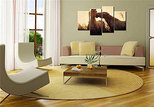 Canvas foto drukt een paard, dat een ander paard lief in riet kussen wanddecoraties Artwork paintings 40 x 80 40 x 100 cm x 2 geen lijst