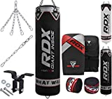 RDX Punching Bag Filled Set Kick Boxing MMA Heavy Muay Thai Training Gloves Punching Mitts Hanging Chain Anchor Ceiling Hook Martial Arts 4FT 5FT