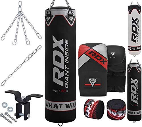 RDX 8PC Sac de Frappe Rempli Lourd Muay Thai Kickboxing MMA Arts Martiaux Equipement D'entraînement Kit Boxe Gants avec Chaine Punching Bag