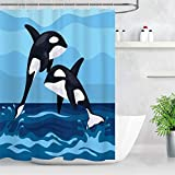 CWYP-MS Duschvorhang wasserdichter Formbeweis Resistant Badezimmer-Vorhang Waschbar Badvorhang Polyester Dolphins Jumping Out of Blue Sea Duschvorhang for Badezimmer mit 12 Haken