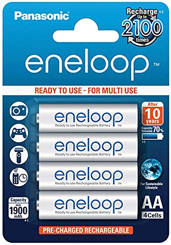 Panasonic Eneloop Batterie Stilo AA Ricaricabili, 1900mAh, 4 pezzi, Argento FBA_BK-3MCCE/4BE