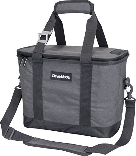 CleverMade Collapsible Cooler Bag with Shoulder Strap: Insulated Leakproof 30