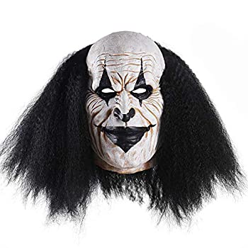 Adults Creepy Clown Face Mask Scary Joker Masks for Halloween(Black)