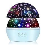 Lámpara Proyector Estrellas, 360° Rotación y 8 Modos Iluminación Proyector Estrellas, USB Recargable LED Proyector para Niños y Bebés Cumpleaños, Día de los Reyes, Navidad, Halloween (Azul)