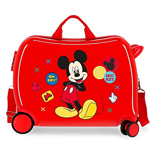 Disney Mickey Enjoy The Day Maleta Infantil Rojo 50x38x20 cms Rígida ABS Cierre combinación 34L 2,1Kgs 4 Ruedas Equipaje de Mano